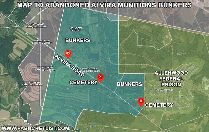 How to find the Alvira bunkers in Union County Pennsylvania