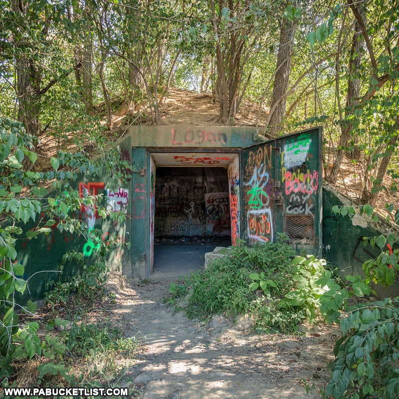 Entrance to one of the bunkers on State Game Lands 252 along Alvira Road.