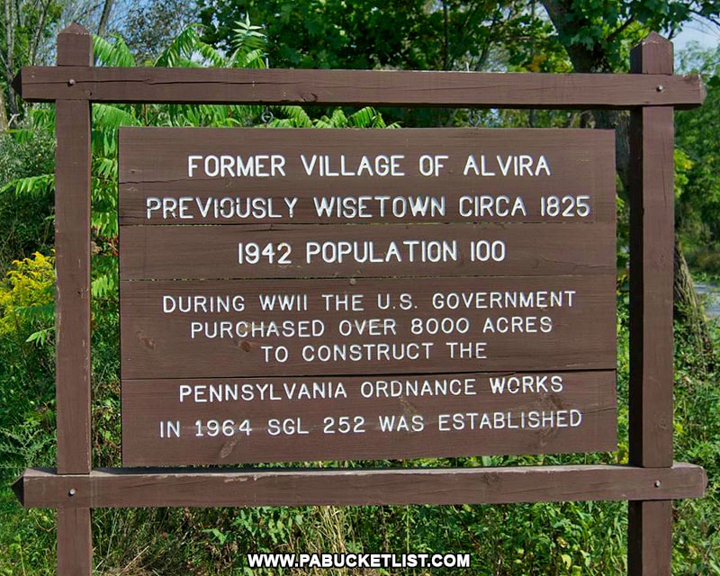 Sign at the site of Alvira and the abandoned munitions bunkers in Union County PA