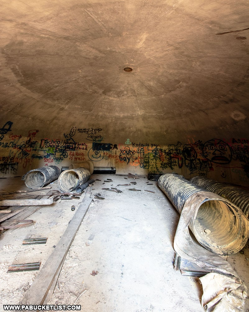 Inside one of the abandoned Alvira munitions bunkers on State Game Lands 252.
