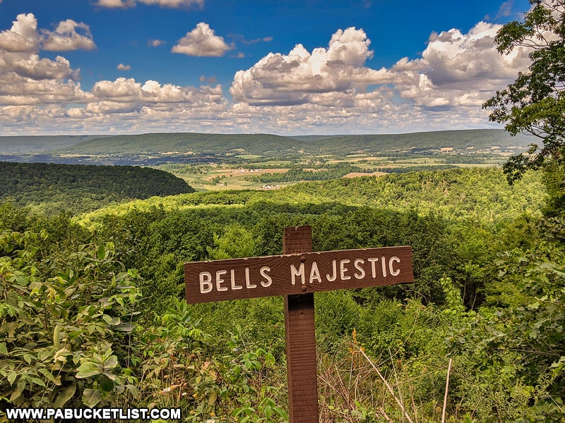 Bells Majestic View sign along Siglerville-Millheim Pike in the Bald Eagle State Forest