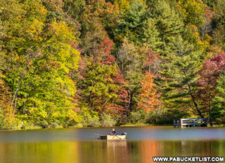 Boating at Greenwood Furnace State Park in October.