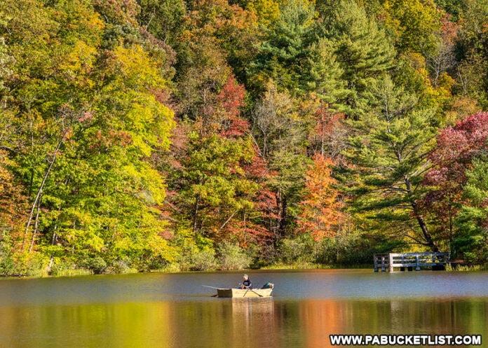 Boating at Greenwood Furnace State Park in October.