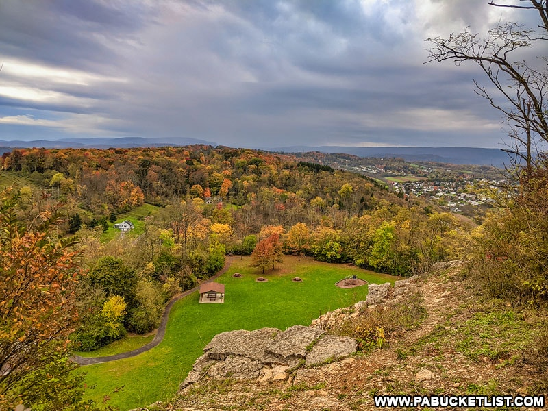 Autumn view from the middle overlook at Chimney Rocks Park outside Hollidaysburg.