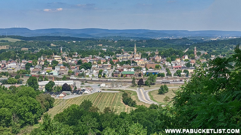 Looking into downtown Hollidaysburg from the lower overlook at Chimney Rocks Park.