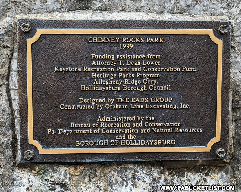 Chimney Rocks Park plaque near the entrance to the park.