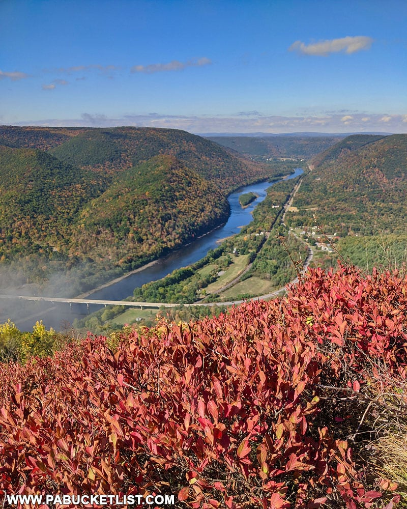 Fall foliage views for miles at Hyner View State Park.