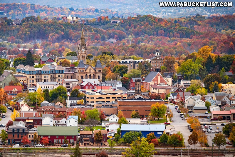 A view of downtown Hollidaysburg from Chimney Rocks Park.