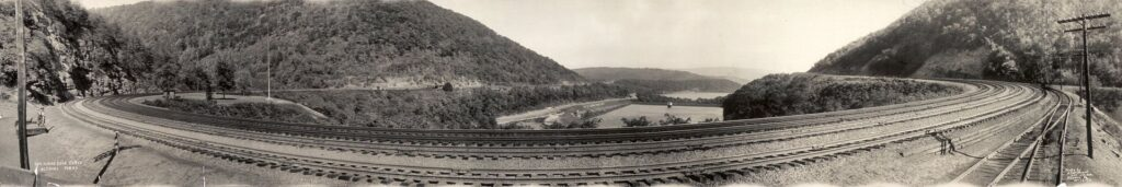 The Horseshoe Curve near Altoona as it appeared in 1934.