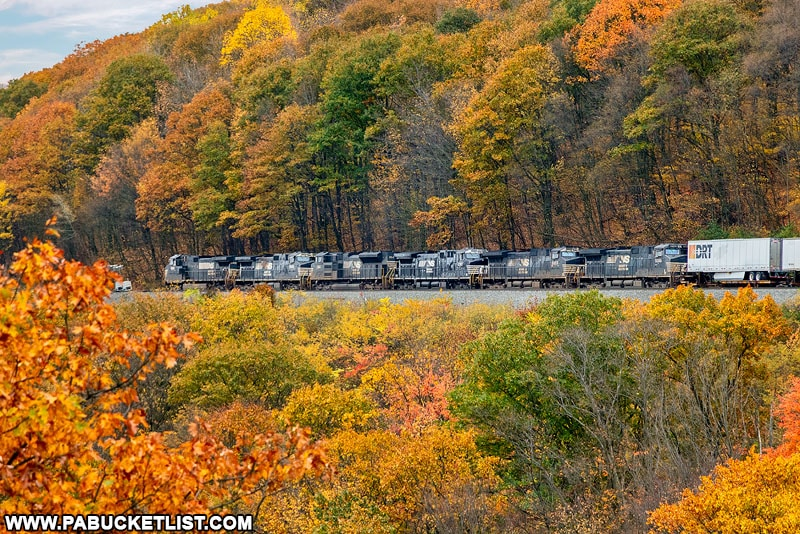 Westbound train climbing the Horseshoe Curve in Altoona.