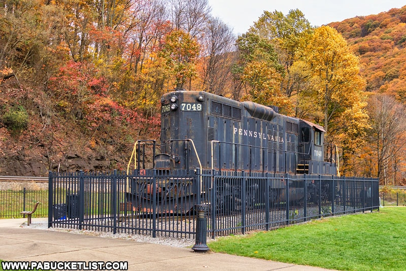 Train engine on display next to the Horseshoe Curve.