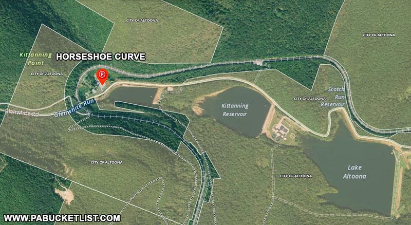 Satellite view of the Horseshoe Curve near Altoona Pennsylvania