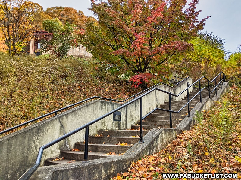 Some of the 194 steps to the train viewing area at the Horseshoe Curve