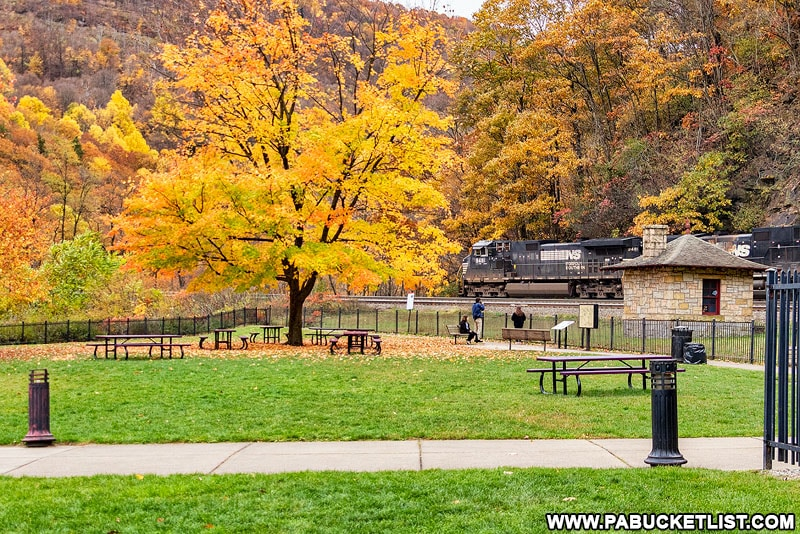 The park-like viewing area at the Horseshoe Curve near Altoona.