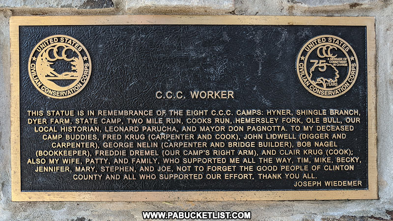 Civilian Conservation Corps memorial at Hyner View State Park in Pennsylvania.