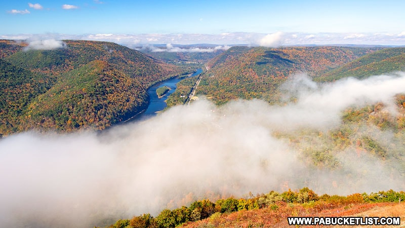 Fog lifting at Hyner View State Park.