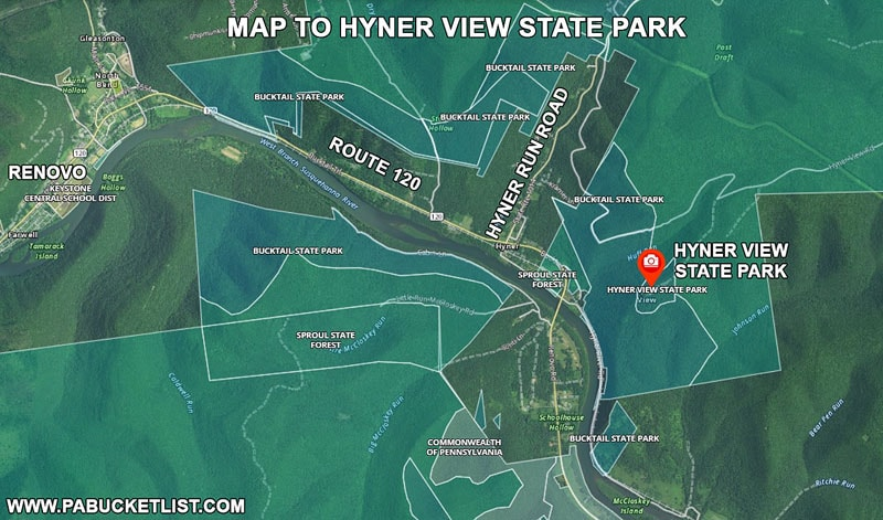 Directions to Hyner View State Park in Clinton County Pennsylvania