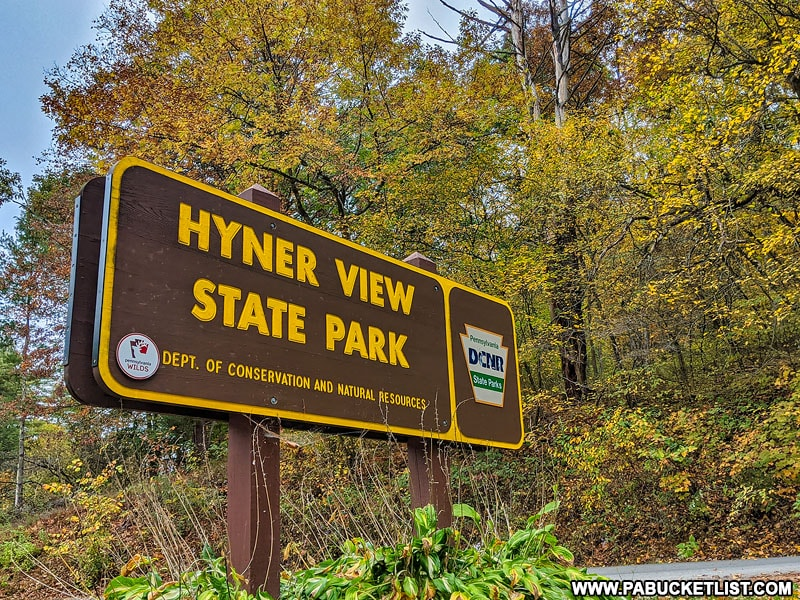 Hyner View State Park sign.