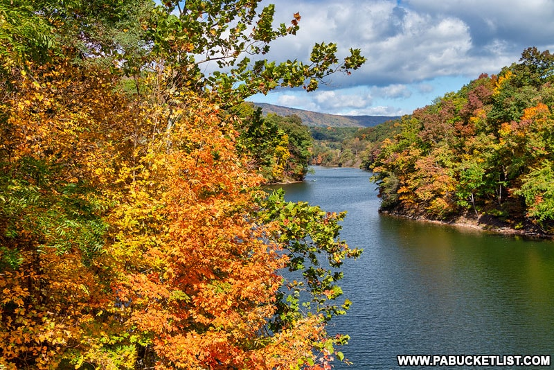Fall foliage at Raystown Dam near Trough Creek State Park in Huntingdon County.