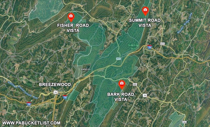 A map to Bark Road Vista Fisher Road Vista and Summit Road Vista near Breezewood PA