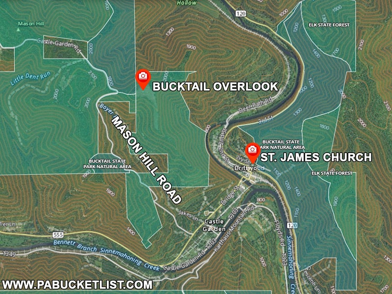 Directions to Bucktail Overlook in Cameron County.