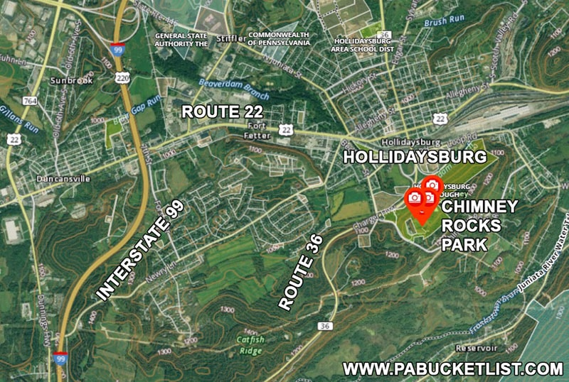 How to find Chimney Rocks Park near Hollidaysburg PA