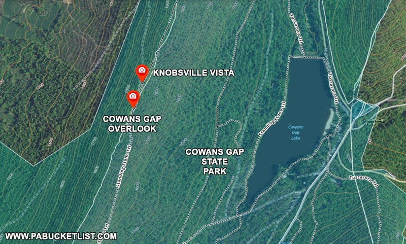 A map to Cowans Gap Overlook and Knobsville Vista in Fulton County PA