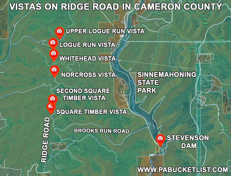 Directions to the scenic views along Ridge Road in Cameron County.