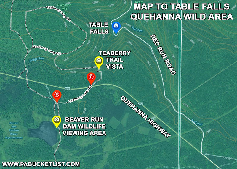 A map to Table Falls in the Quehanna Wild Area.