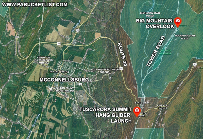 A map to Big Mountain Overlook and the Tuscarora Summit Hang Glider Launch near McConnellsburg PA