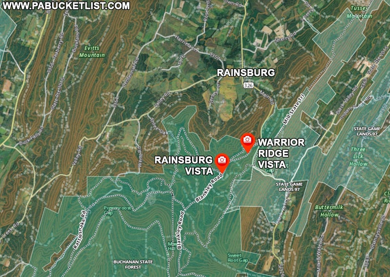 A map to Rainsburg Vista and Warrior Ridge Vista in Bedford County PA