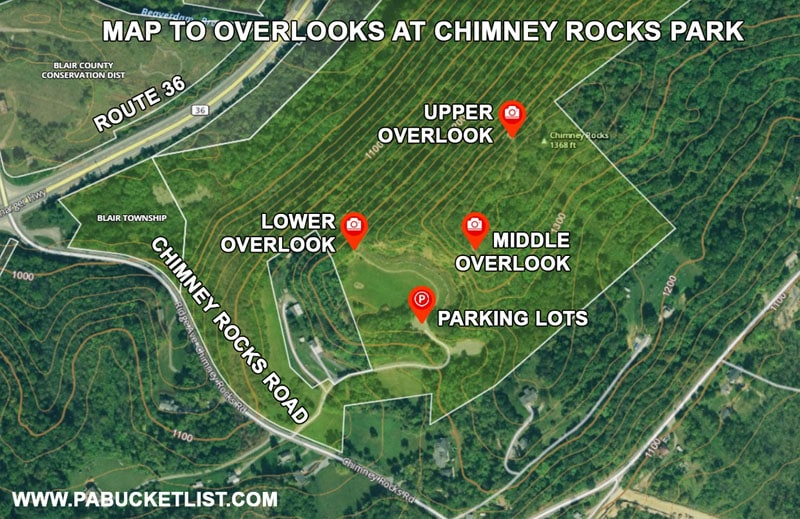 A map to the three scenic overlooks at Chimney Rocks Park in Hollidaysburg PA