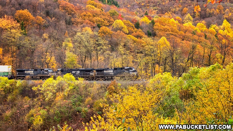 Eastbound Norfolk Southern train at the Horseshoe Curve in Blair County PA