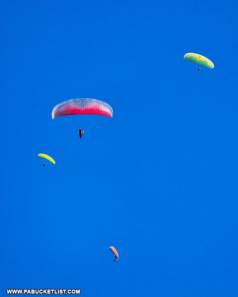 Paragliders circling Tuscarora Summit near McConnellsburg PA