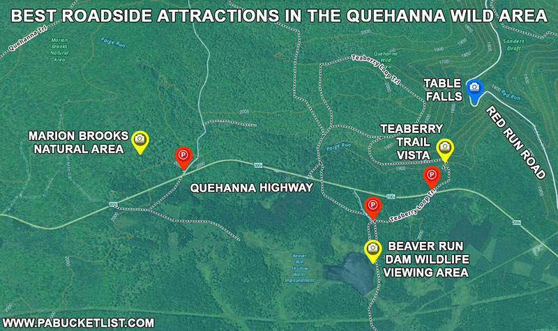 A map to the best roadside attractions in the Quehanna Wild Area.