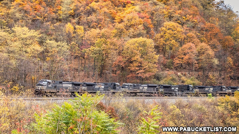 A westbound Norfolk Southern train passing through the Horseshoe Curve near Altoona in October 2020.