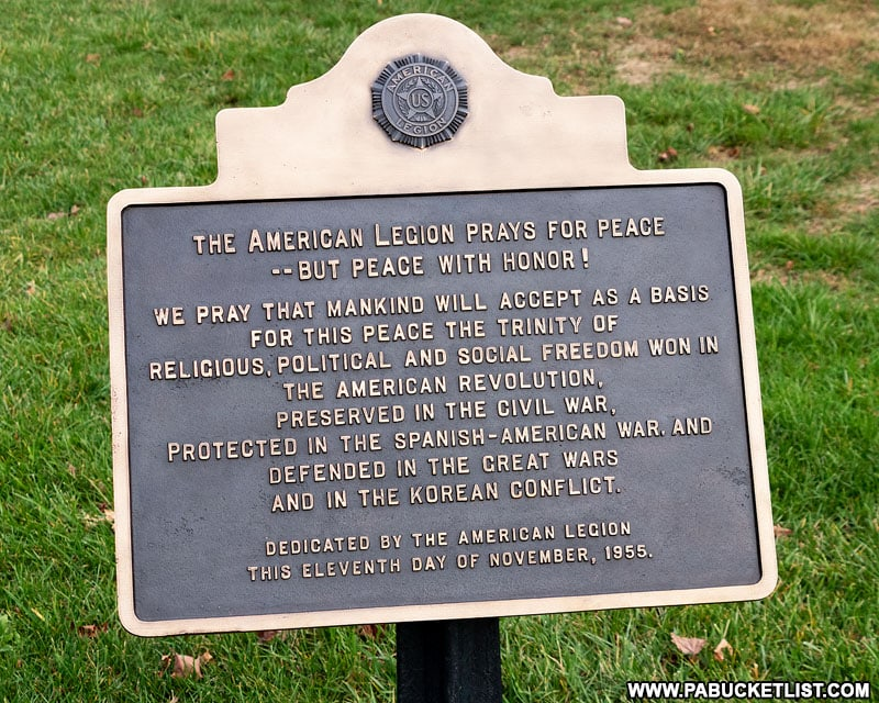 American Legion plaque at the Gettysburg National Cemetery.