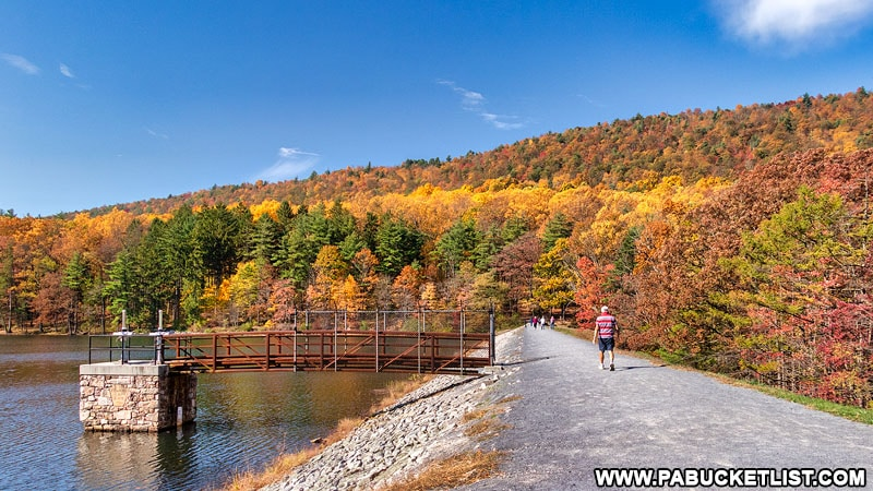 The Lakeside Trail at Cowans Gap State Park as it passes over the breast of the dam on Cowans Gap Lake,