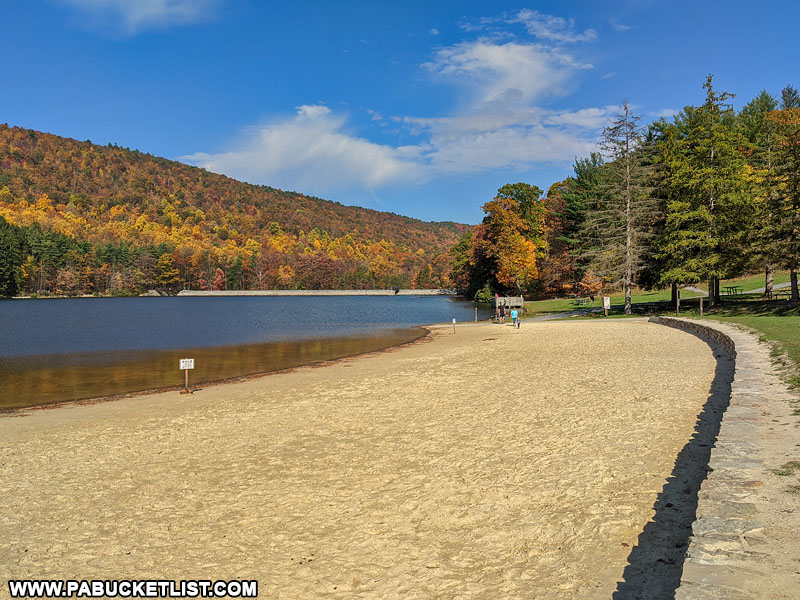 The beach at Cowans Gap State Park.