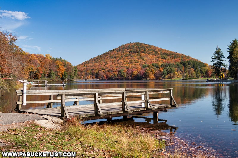 A fishing pier at Cowans Gap State Park.