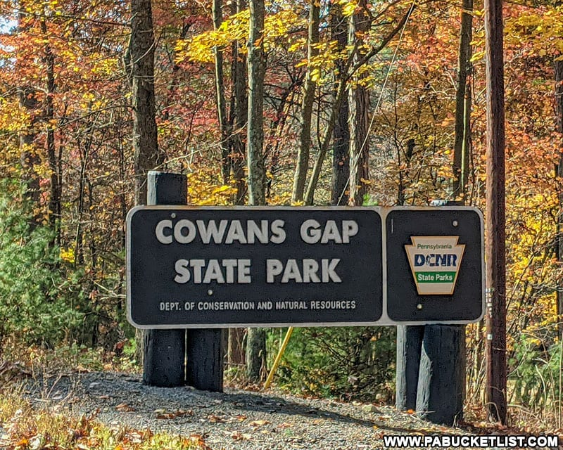 Cowans Gap State Park sign along Aughwick Road.