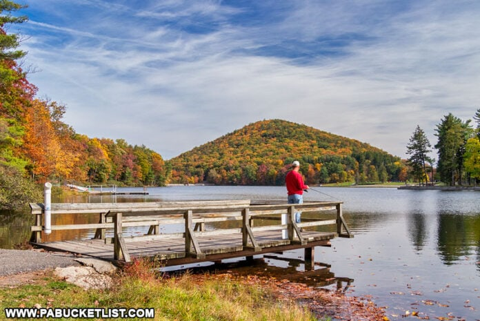 A fisherman at Cowans Gap State Park.