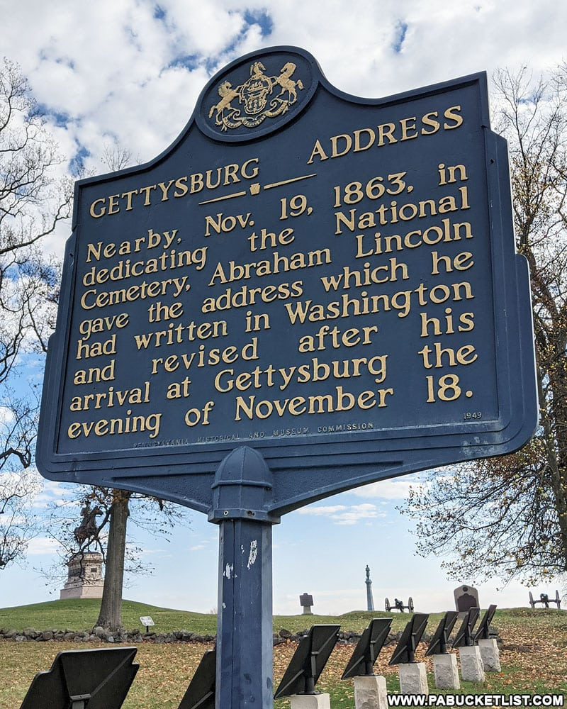 Historical marker near the site of the Gettysburg Address.