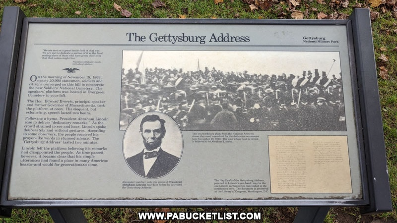 Gettysburg Address historical sig at the Soldiers' National Cemetery.