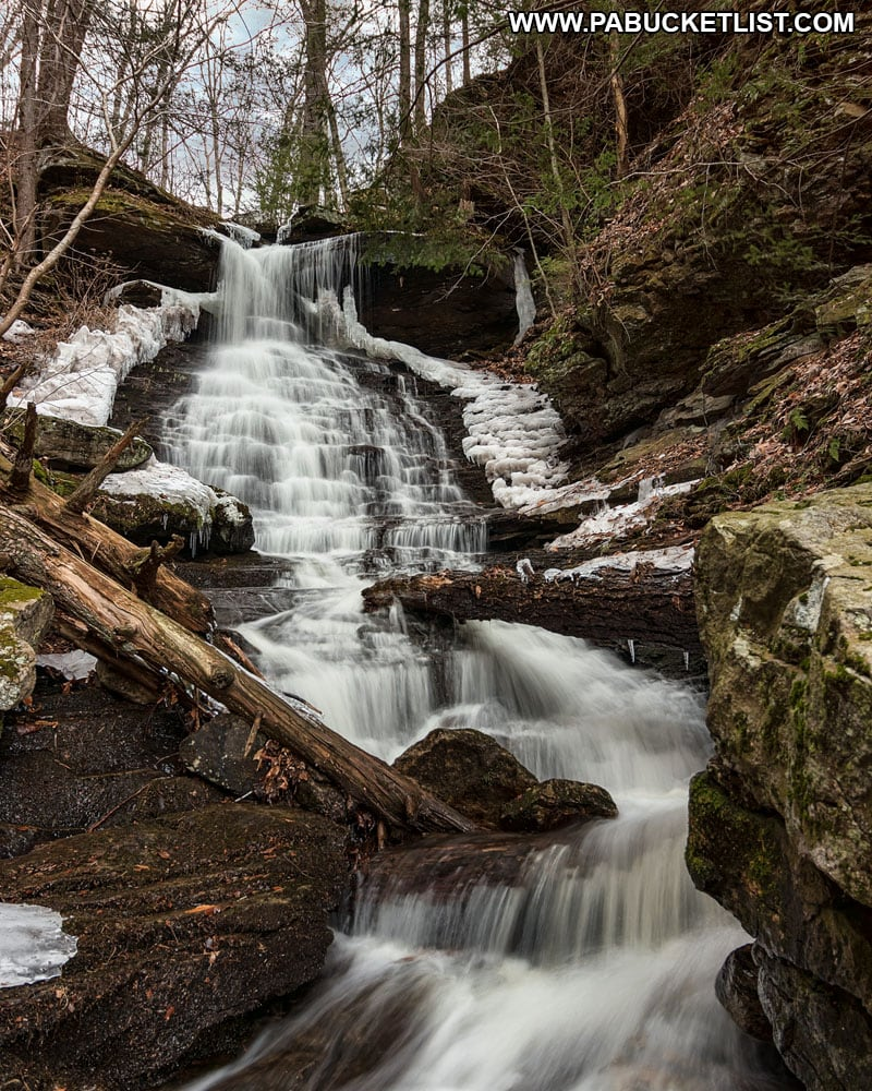 Winter at High Rock Falls inside Worlds End State Park.