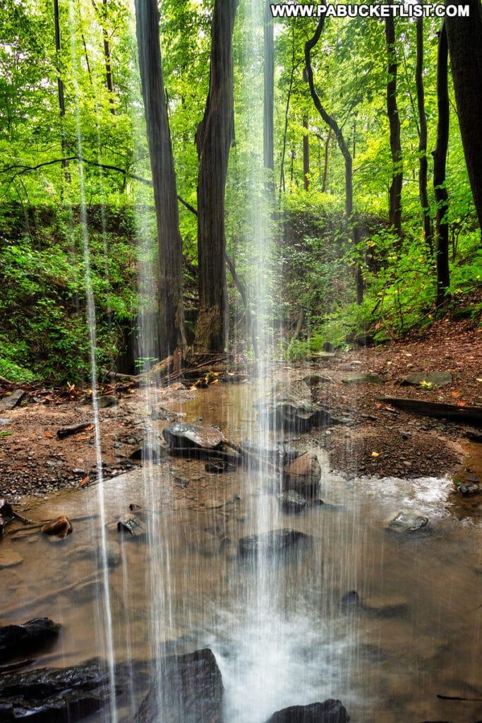 Standing behind Hippie Shower Falls near Connellsville PA