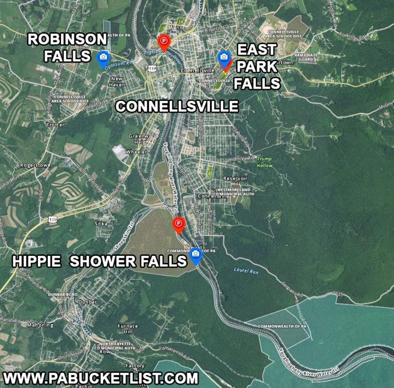 Directions to Hippie Shower Falls near Connellsville Pennsylvania.