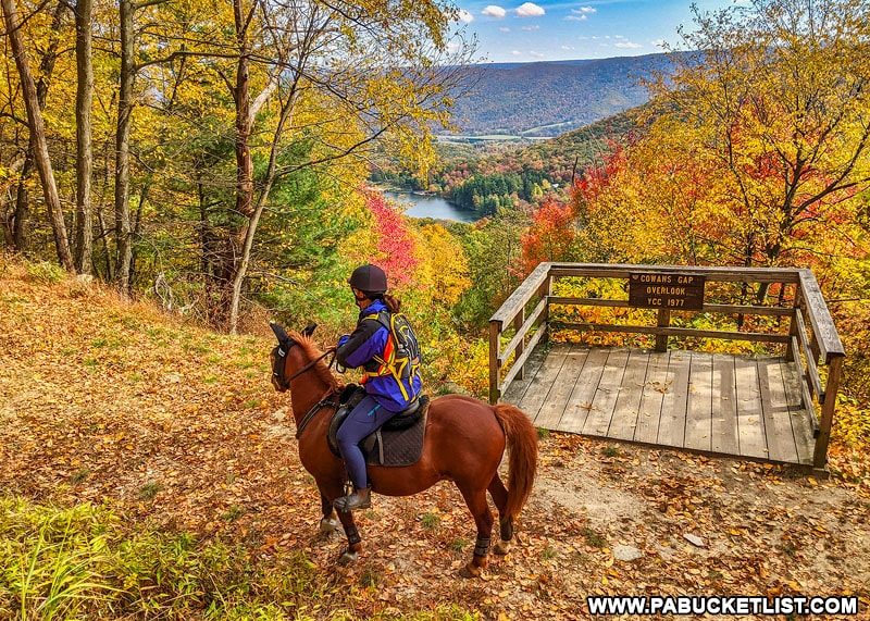 A horse and rider along the Knobsville Road Trail at Cowans Gap Overlook.