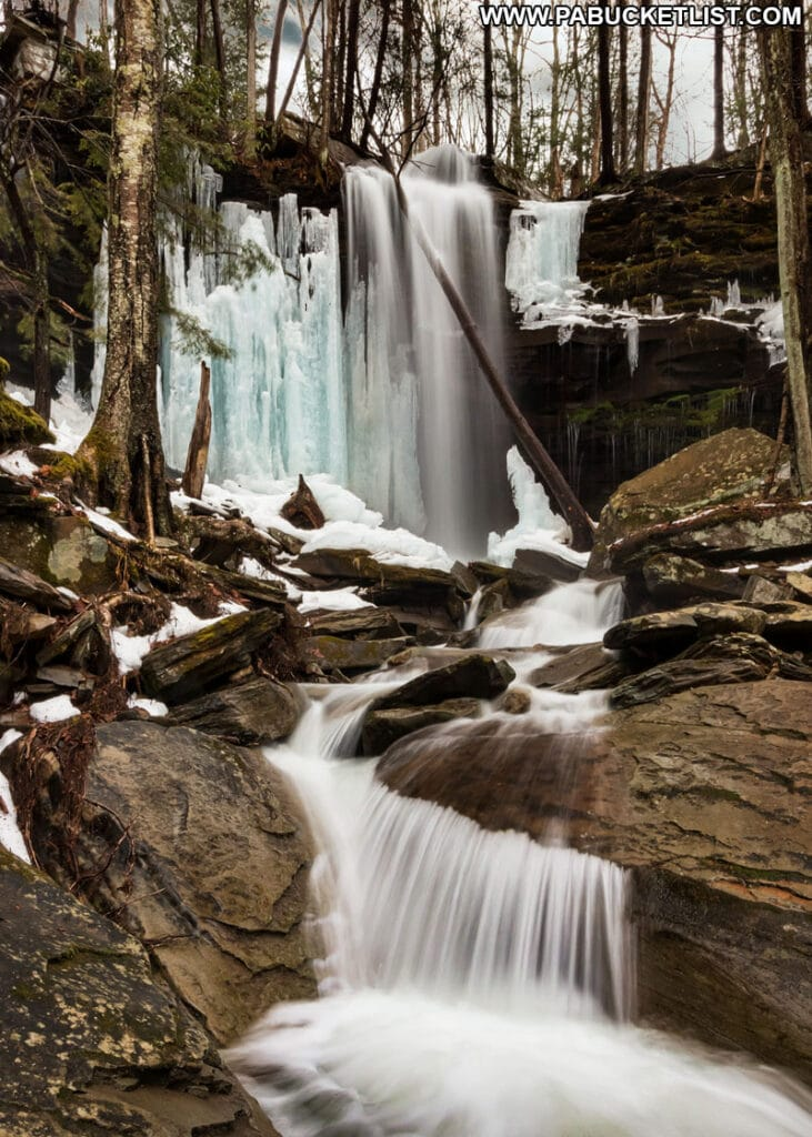 Icy scene at Jacoby Falls in Lycoming County.