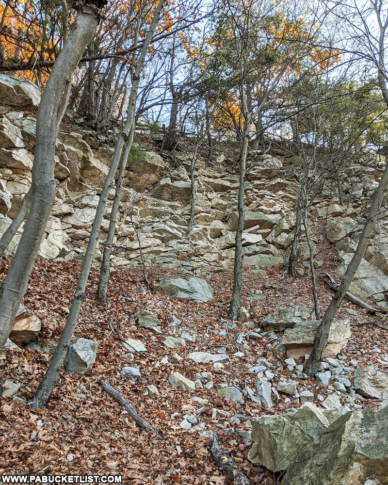 A portion of the Ledge Quarry high above Mapleton in Huntingdon County.